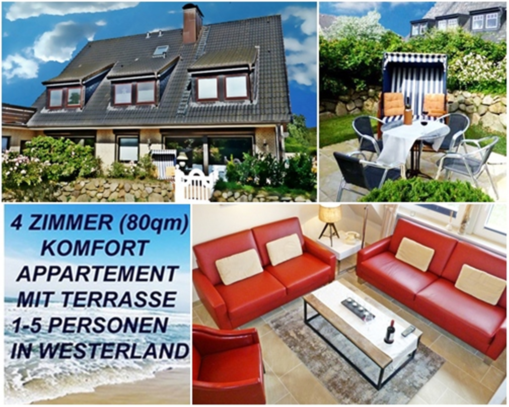 Ferienwohnung, FeWo SYLTER DEICHWIESE: 4 Zimmer, Garten, 2-5 Pers ...